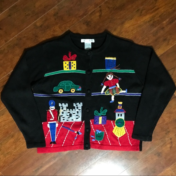 Victoria Jones Woman Sweaters Ugly Christmas Sweater Santas Toys